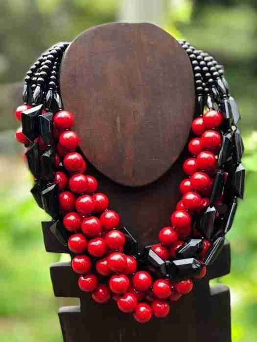 Angela Caputi red and black necklace